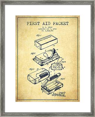First Aid Packet Patent From 1922 - Vintage Framed Print by Aged Pixel