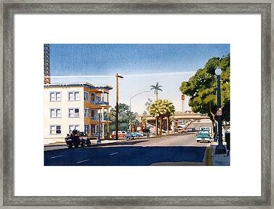First Avenue In San Diego Framed Print by Mary Helmreich