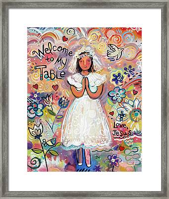 First Communion Girl Framed Print by Jen Norton