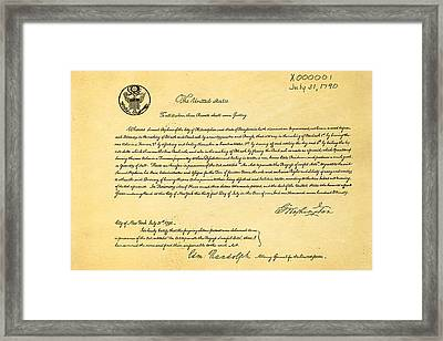 First Ever Us Patent For Potash Patent Art 1790 Framed Print by Ian Monk