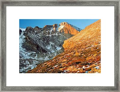 First Light At Longs Peak Framed Print by Eric Glaser