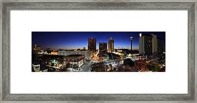 First Light On San Antonio Skyline - Texas Framed Print by Silvio Ligutti