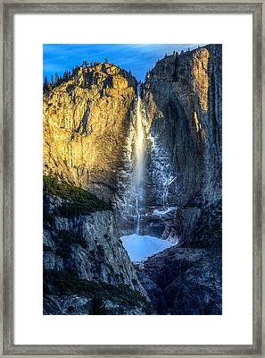 First Light On Yosemite Falls Framed Print by Mike Lee