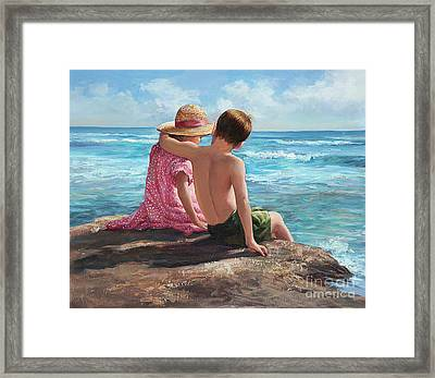 First Love By The Seashore Framed Print by Laurie Hein