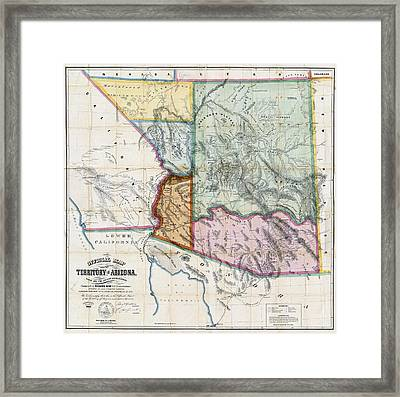 First Map Of Arizona Territory  1865 Framed Print by Daniel Hagerman