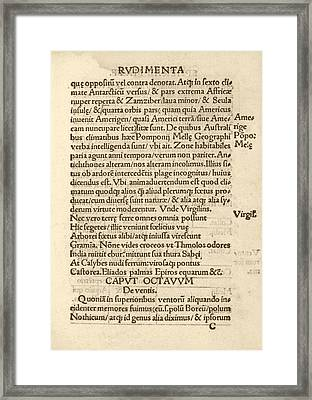 First Naming Of 'america' Framed Print by Library Of Congress
