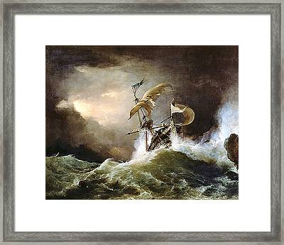 First Rate Man-of-war Framed Print by George Philip Reinagle