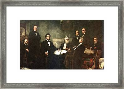 First Reading Of The Emancipation Proclamation Of President Lincoln Framed Print by Georgia Fowler