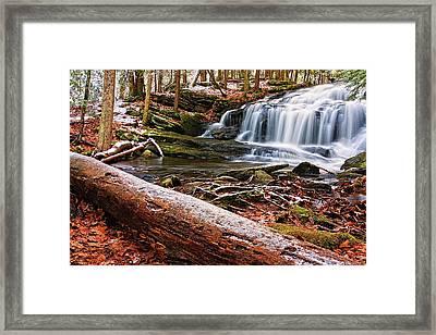 First Snow Tucker Brook Falls Framed Print by Jeff Sinon