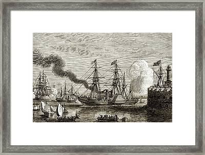 First Transatlantic Steamship Crossing Framed Print by Sheila Terry