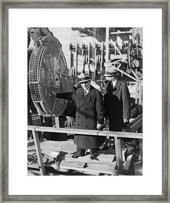 First Wire For Gg Bridge Framed Print by Underwood Archives