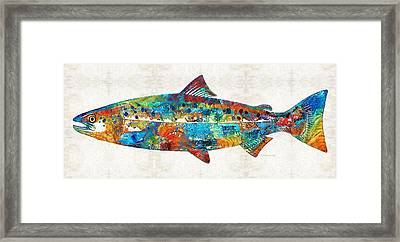 Fish Art Print - Colorful Salmon - By Sharon Cummings Framed Print by Sharon Cummings
