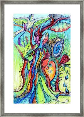 Fish Feather In Teapot Tree Guarded By Human Bird Framed Print by Genevieve Esson