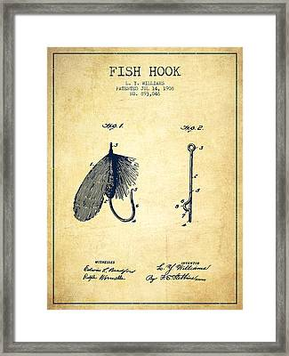 Fish Hook Patent From 1908- Vintage Framed Print by Aged Pixel