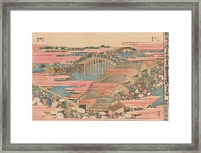 Fish Market By River In Edo At Nihonbashi Bridge  Framed Print by Hokusai