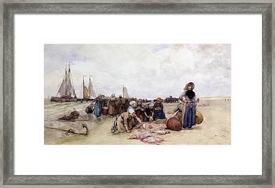 Fish Sale On The Beach  Framed Print by Bernardus Johannes Blommers