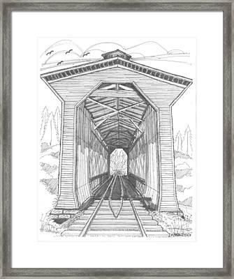 Fisher Railroad Covered Bridge Framed Print by Richard Wambach