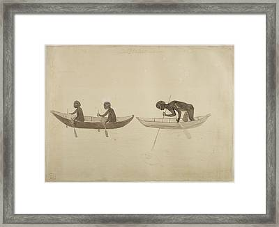 Fisherman In Small Wooden Canoes Framed Print by British Library