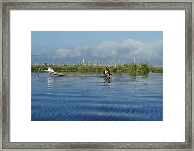 Fisherman On The Inle Lake Framed Print by Maria Heyens