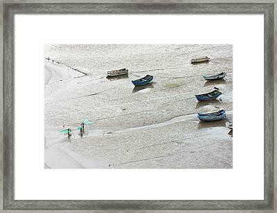 Fishermen Carrying Fish Net And Fishing Framed Print by Keren Su