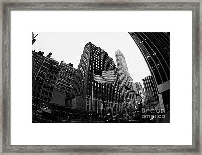 Fisheye View Of 34th Street From 1 Penn Plaza New York City Framed Print by Joe Fox