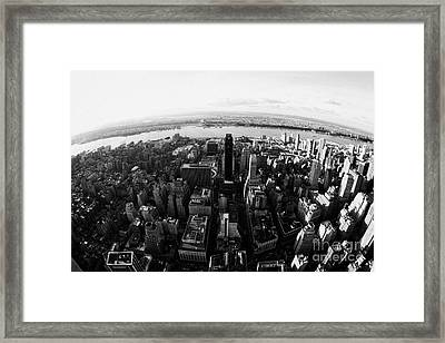 Fisheye View Of Manhattan West Towards Hudson River New York City Usa Framed Print by Joe Fox