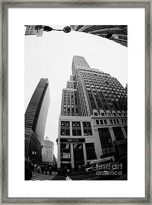 fisheye view of the Nelson Tower and 1 penn plaza in the background from junction of 34th street and Framed Print by Joe Fox