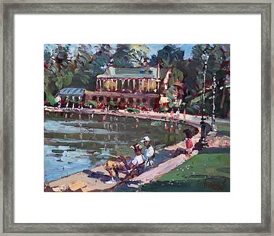 Fishing At Delaware Lake Buffalo Framed Print by Ylli Haruni