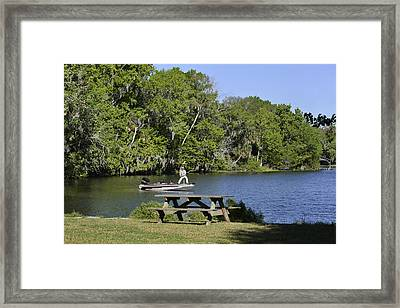Fishing At Ponce De Leon Springs Fl Framed Print by Christine Till