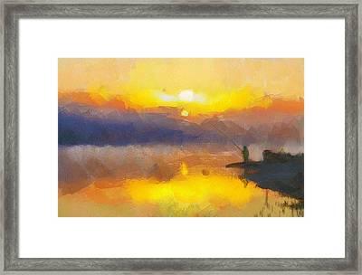 Fishing At Sunset Framed Print by Yury Malkov
