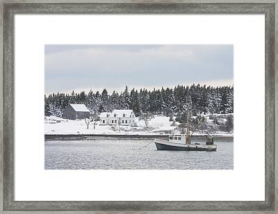 Fishing Boat After Snowstorm In Port Clyde Harbor Maine Framed Print by Keith Webber Jr