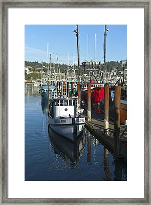Fishing Boat In Newport Oregon. Framed Print by Gino Rigucci