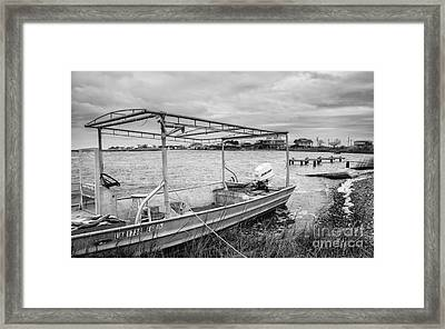 Fishing Boat With Catch In Black And White Framed Print by Kathleen K Parker