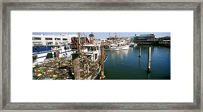 Fishing Boats At A Dock, Fishermans Framed Print by Panoramic Images