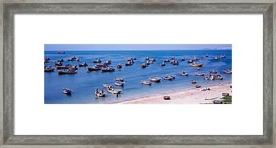 Fishing Boats At A Harbor, Mui Ne Framed Print by Panoramic Images