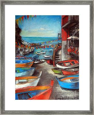 Fishing Boats In Riomaggiore Framed Print by Mona Edulesco