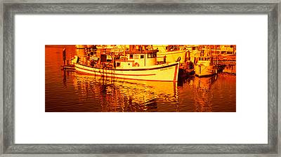 Fishing Boats In The Bay, Morro Bay Framed Print by Panoramic Images