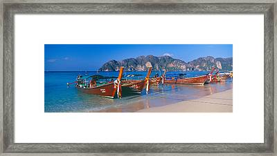 Fishing Boats In The Sea, Phi Phi Framed Print by Panoramic Images