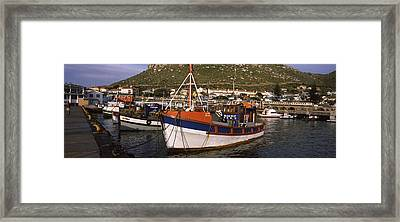 Fishing Boats Moored At A Harbor, Kalk Framed Print by Panoramic Images