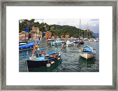 Fishing Boats Of Portofino Framed Print by George Oze