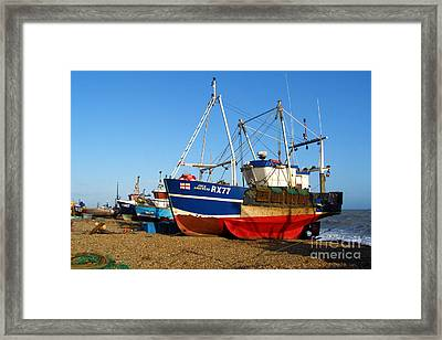Fishing Boats On Hastings Stade Framed Print by Terri Waters