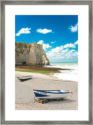 Fishing Boats On The Beach At Etretat Framed Print by Loriental Photography