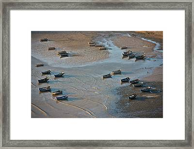 Fishing Boats On The Muddy Beach, East Framed Print by Keren Su