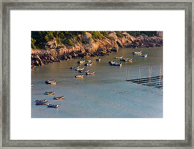 Fishing Boats On The Muddy Beach Framed Print by Keren Su