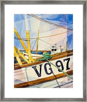 Fishing Boats Watercolor Framed Print by Lutz Baar