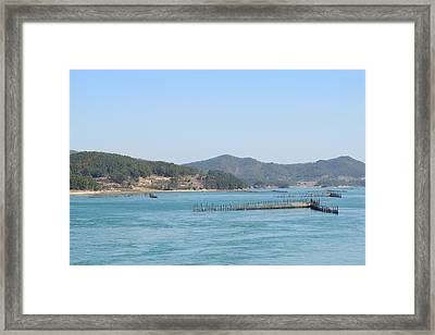 Fishing By Flow Of Sea Wat Framed Print by Sihyeon Park
