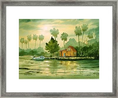Fishing Cabin - Aucilla River Framed Print by Bill Holkham