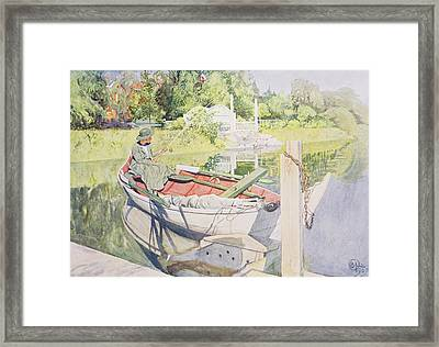 Fishing Framed Print by Carl Larsson