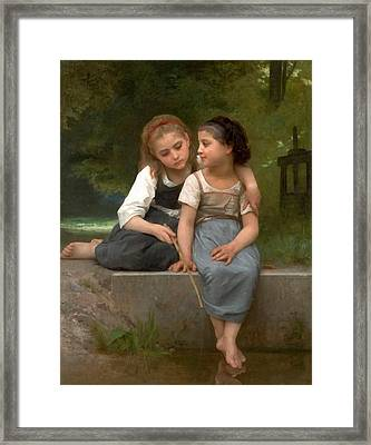 Fishing For Frogs Watercolor Version Framed Print by William Bouguereau