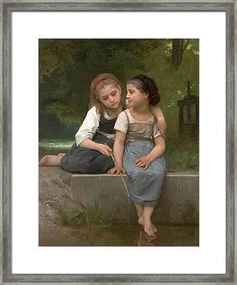 Fishing For Frogs Framed Print by William Bouguereau